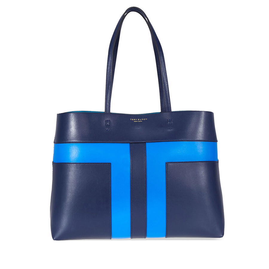 0fe776a5974 Tory Burch Block-T Pieced Tote - Royal Navy   Galleria Blue - Tory ...