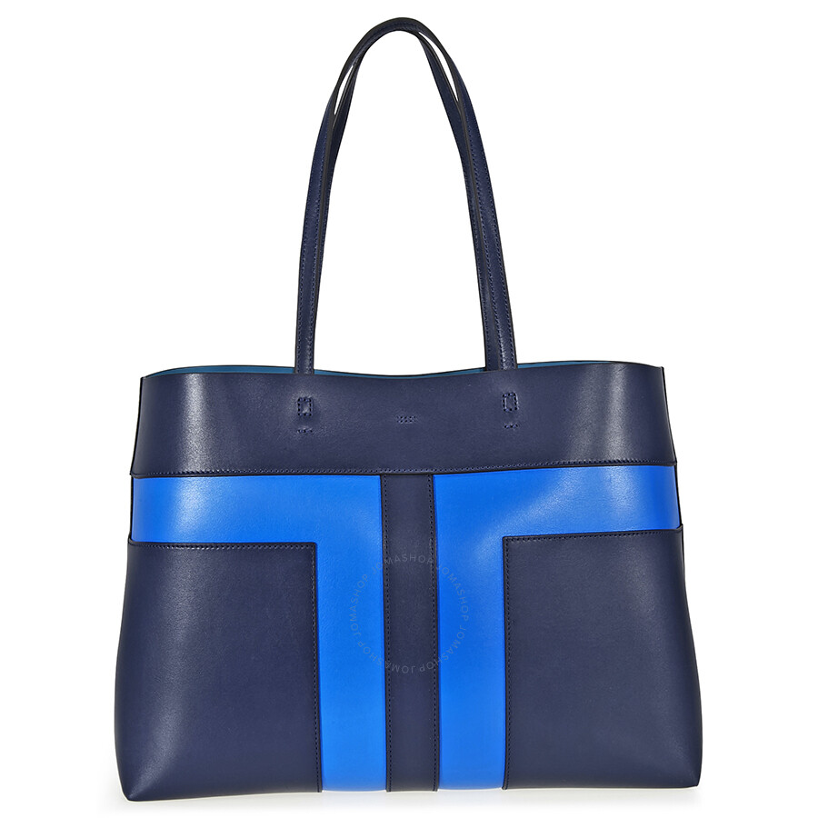 Tory Burch Block T Pieced Tote Royal Navy Galleria Blue