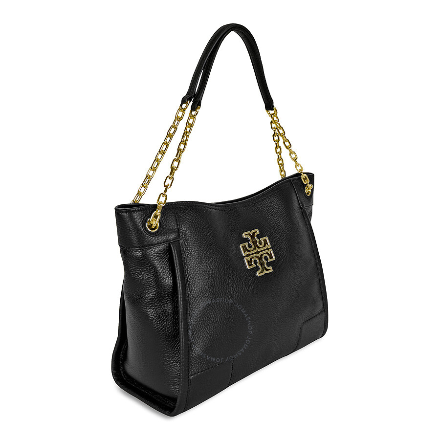 136fc691a55 Tory Burch Britten Small Slouchy Ladies Tote - Black - Tory Burch ...