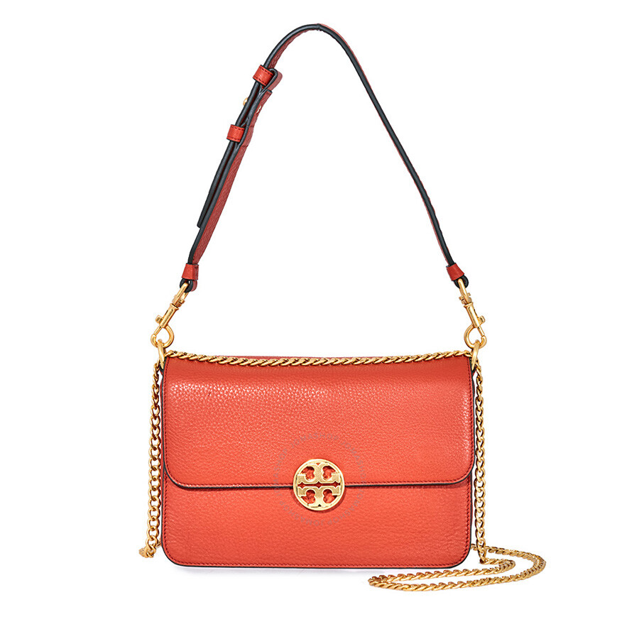 461c931c9071 Tory Burch Chelsea Convertible Pebbled Leather Shoulder Bag- Orange Item  No. 48735-800