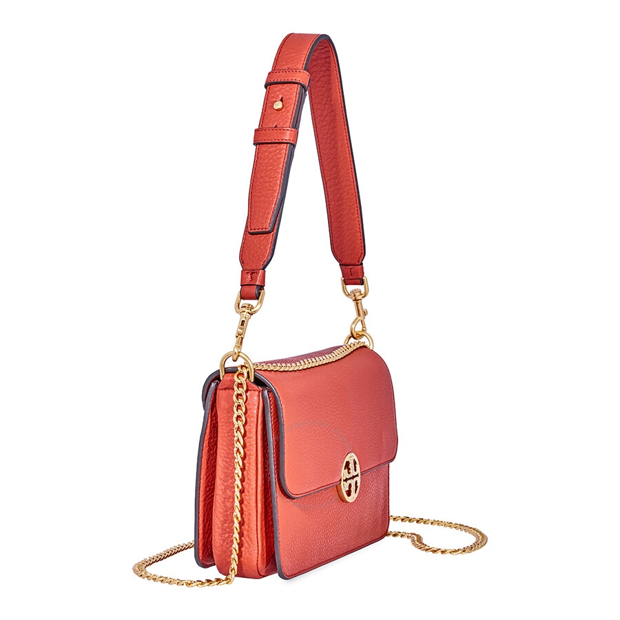 ab5a07b6fbbe Tory Burch Chelsea Convertible Pebbled Leather Shoulder Bag- Orange ...