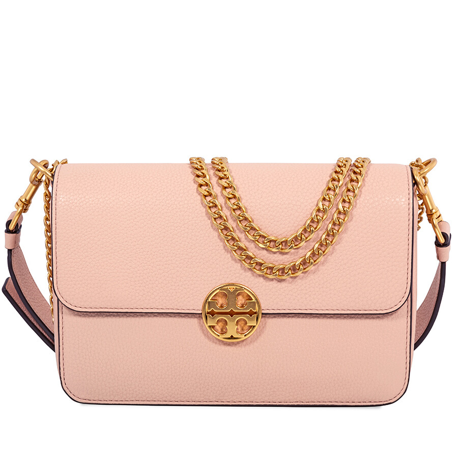 689bcfa542a5 Tory Burch Chelsea Convertible Pebbled Leather Shoulder Bag- Pale Apricot  Item No. 48735-661