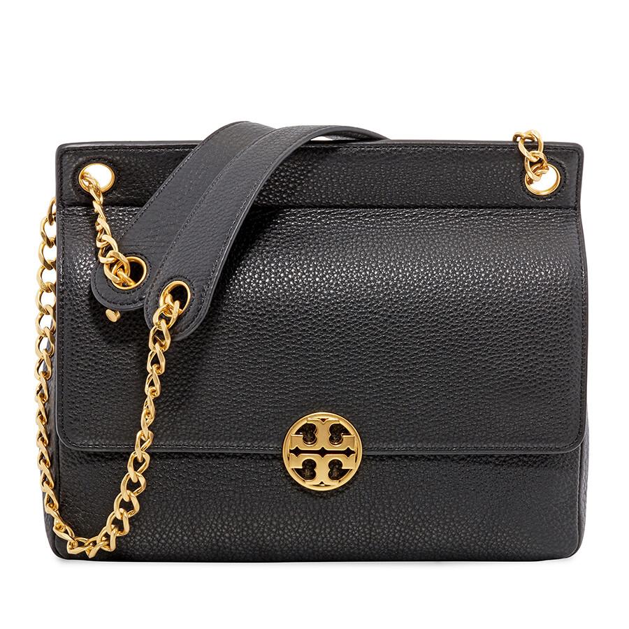 00e917ca0b7a Tory Burch Chelsea Flap Pebbled Leather Shoulder Bag- Black Item No.  48730-001