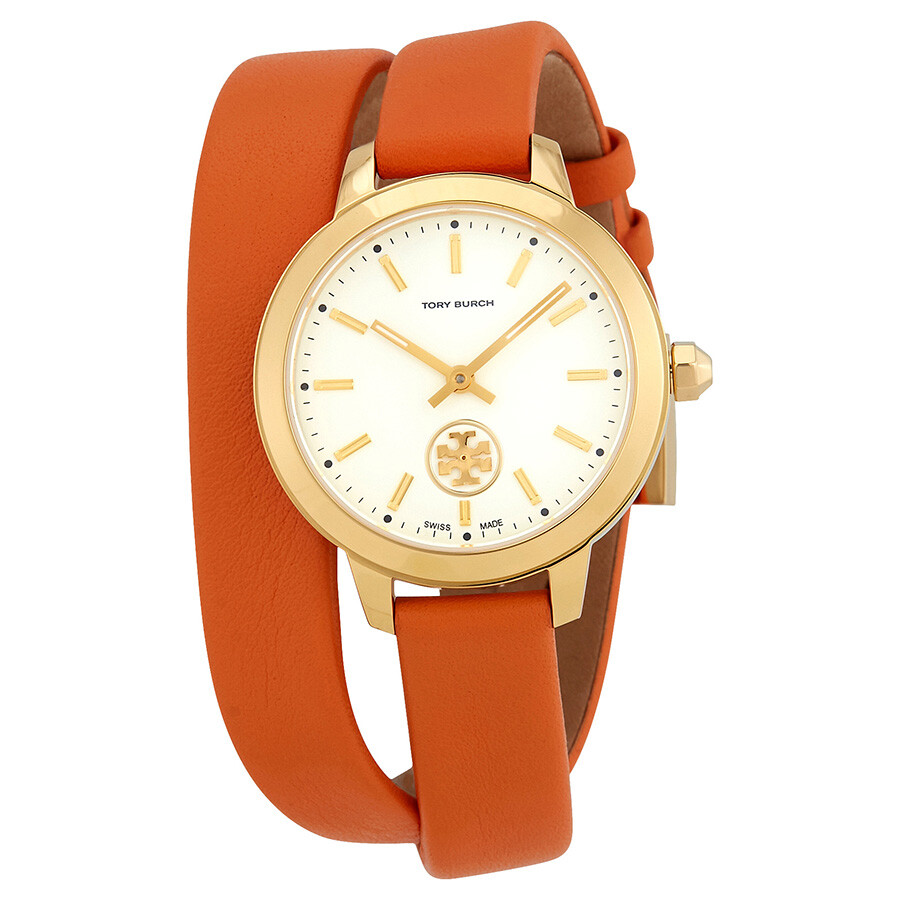 1e6f7a3b7 Tory Burch Collins Ivory Dial Orange Double Wrap Ladies Watch TB1302 ...