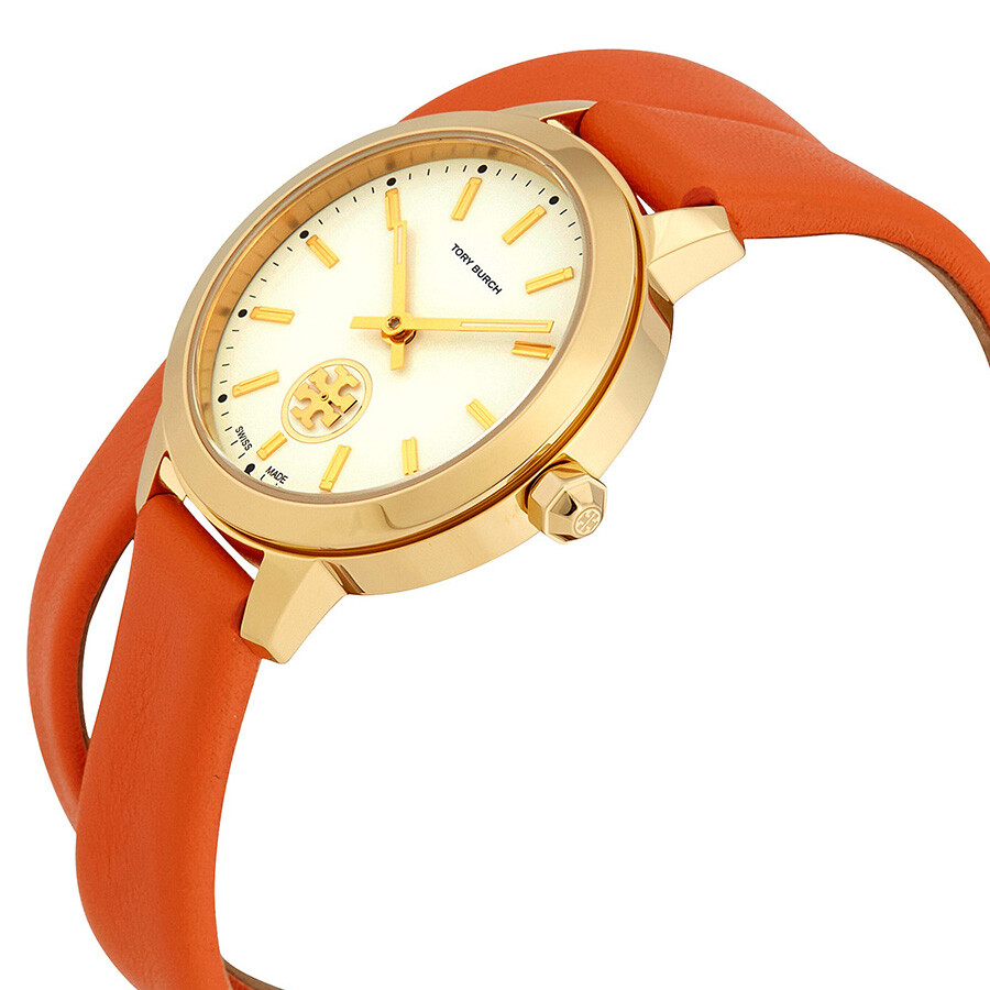 aebdab927 ... Tory Burch Collins Ivory Dial Orange Double Wrap Ladies Watch TB1302 ...