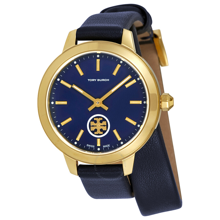 3039ed90f Tory Burch Collins Navy Blue Dial Double Wrap Ladies Watch TB1303 ...
