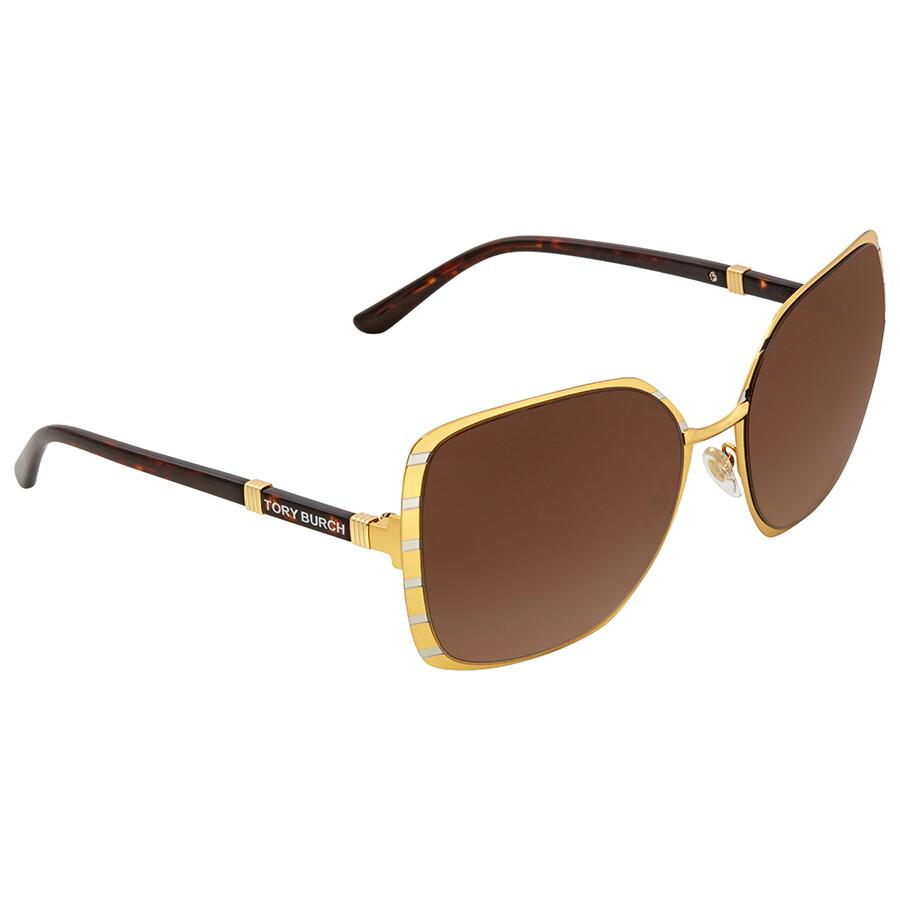 30c6f6b8124e Tory Burch Dark Brown Gradient Square Sunglasses TY6055 322913 57 ...