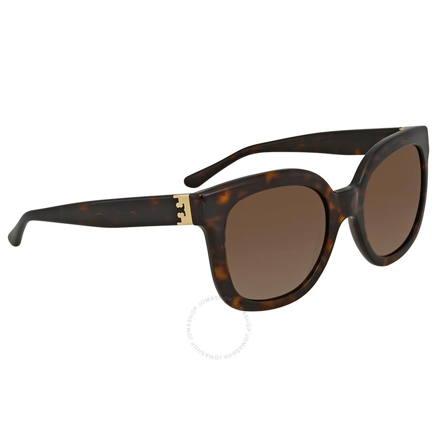 4b32d3687ded Tory Burch Dark Tortoise Square Polarized Sunglasses TY7104 1378T5 54 Item  No. TY7104 1378T5 54