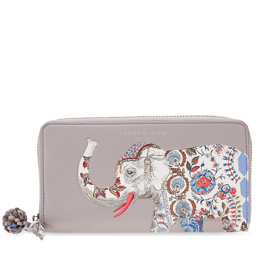 d7bb54ce9 Tory Burch Elephant Continental Zip Wallet - French Gray Item No. 39990-036
