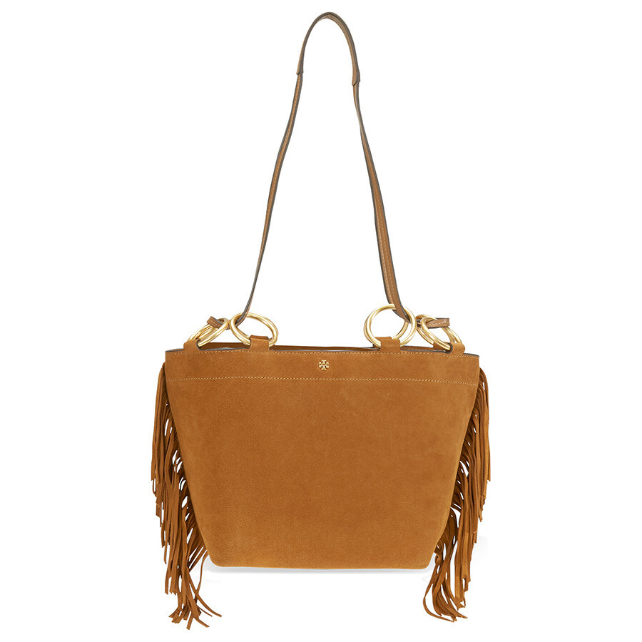 b95a7269d7f Tory Burch Farrah Fringe Small Suede Tote- Brown - Tory Burch ...