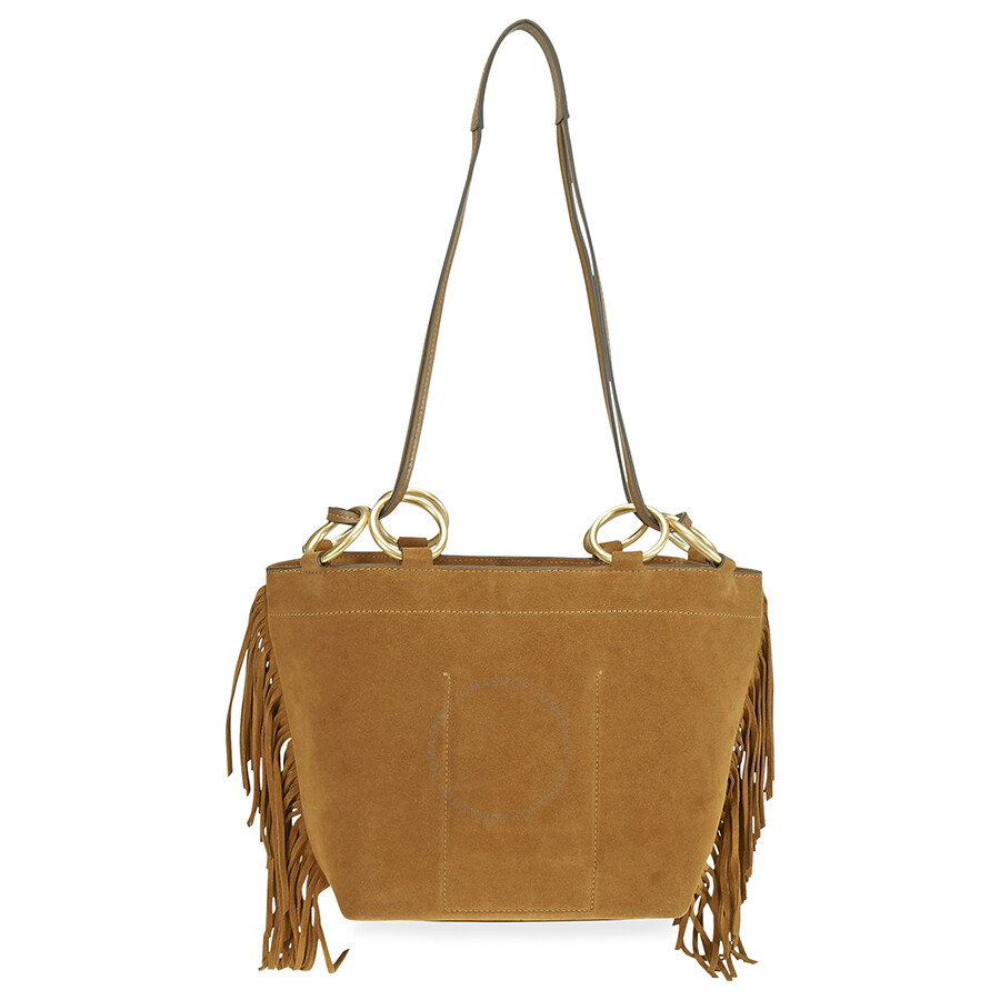 bae1ad07adc Tory Burch Farrah Fringe Small Suede Tote- Brown Item No. 49244-223