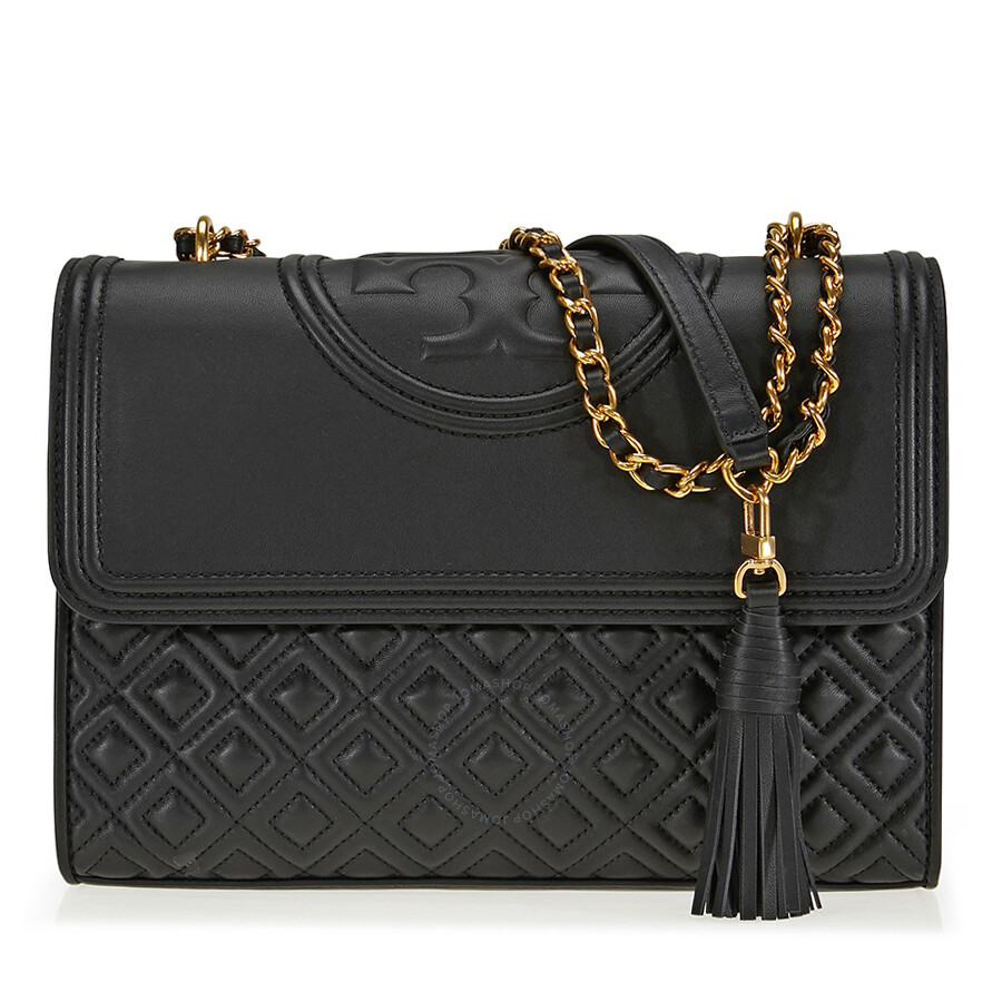 db33dbe640a Tory Burch Fleming Convertible Leather Shoulder Bag - Black - Tory ...