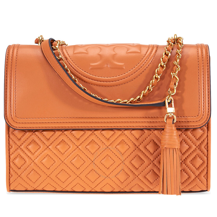 dfee30e4a5aee Tory Burch Fleming Convertible Leather Shoulder Bag - Light Masala Item No.  43833-228