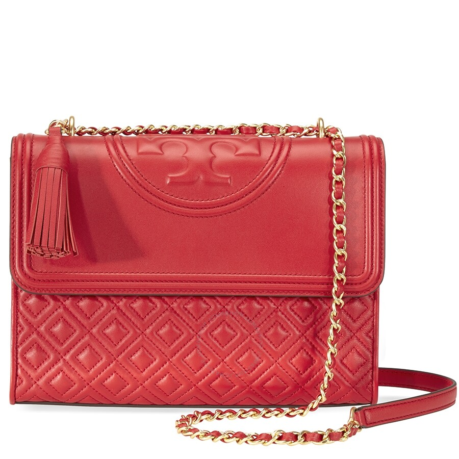 9f17bcc5241a Tory Burch Fleming Convertible Leather Shoulder Bag- Red Item No. 43833-612