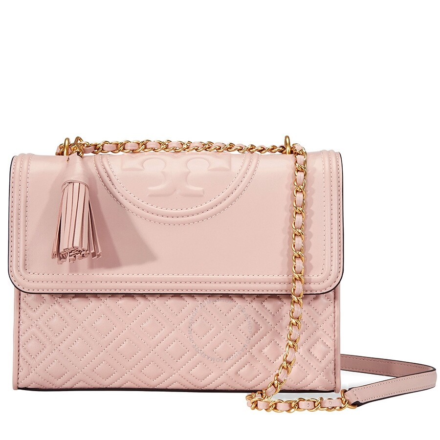 0a311cf8a9d1 Tory Burch Fleming Convertible Leather Shoulder Bag- Shell Pink Item No.  43833-652