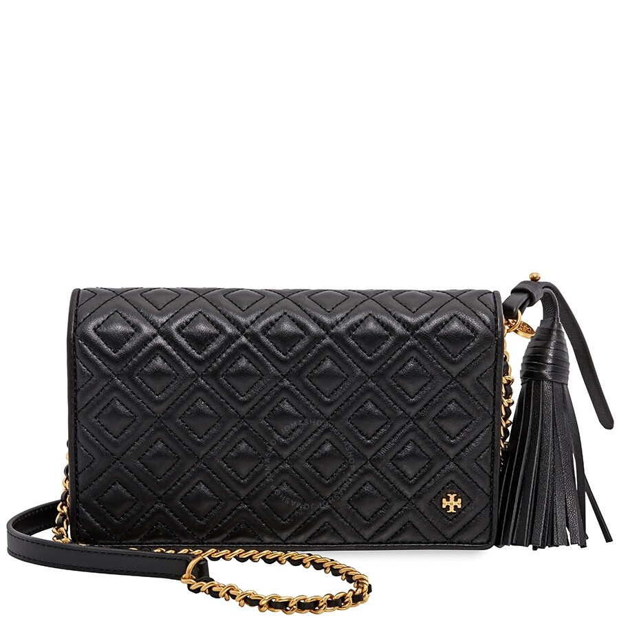 cacd1167acd Tory Burch Fleming Flat Wallet Crossbody Bag- Black Item No. 46449-001