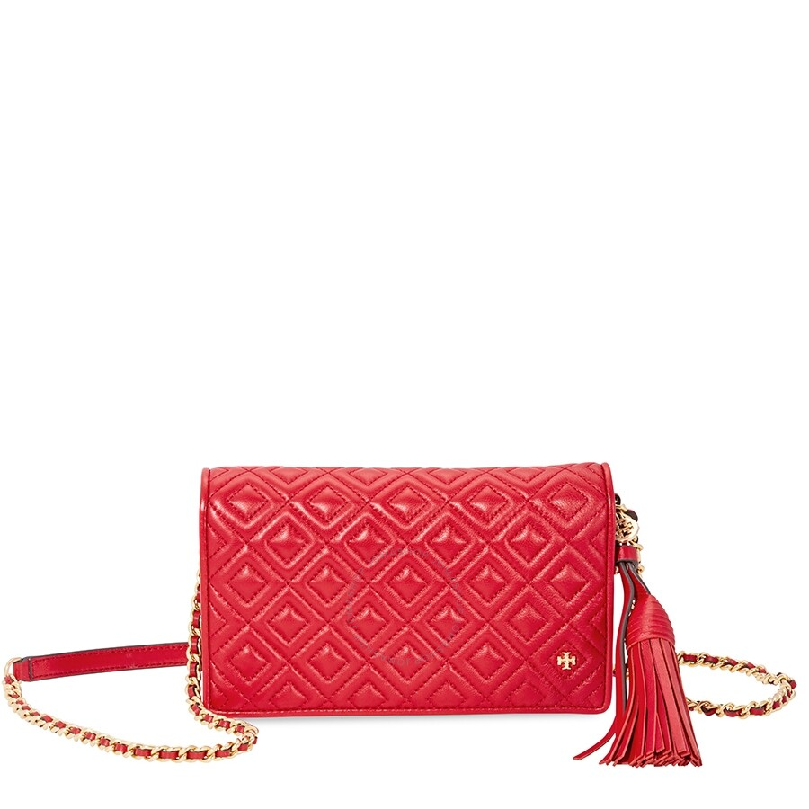 583a5f6be4a Tory Burch Fleming Flat Wallet Crossbody Bag- Red Item No. 46449-612