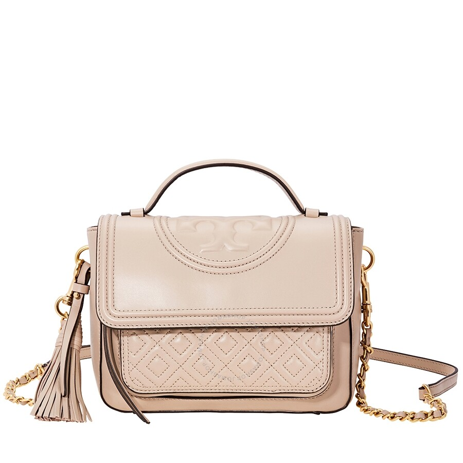 fa39a5a90e83 Tory Burch Fleming Fleming Quilted Leather Satchel- Light Taupe Item No.  45147-268