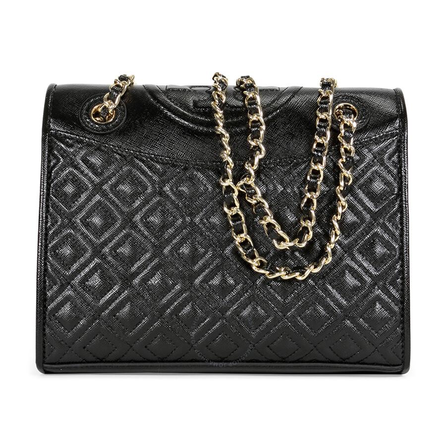Tory Burch Fleming Patent Saffiano Leather Medium Bag - Black Item No.  12159765 7aea8b27ab869