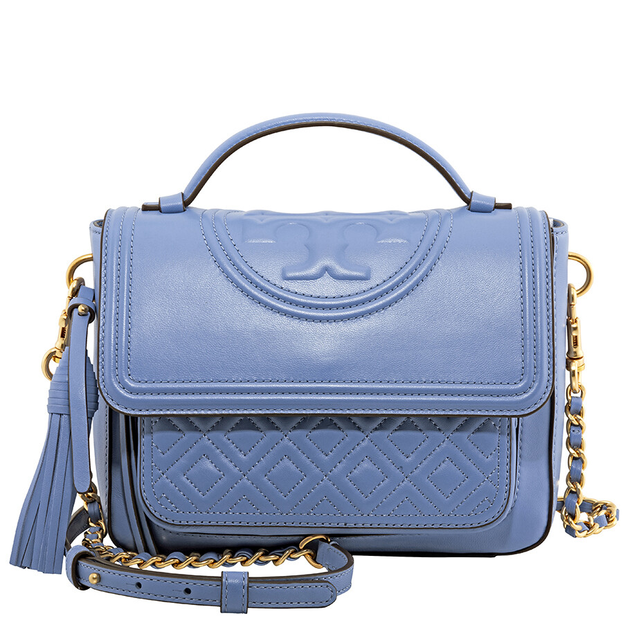 478a6b95f6381 Tory Burch Fleming Quilted Leather Satchel- Larkspur - Tory Burch ...