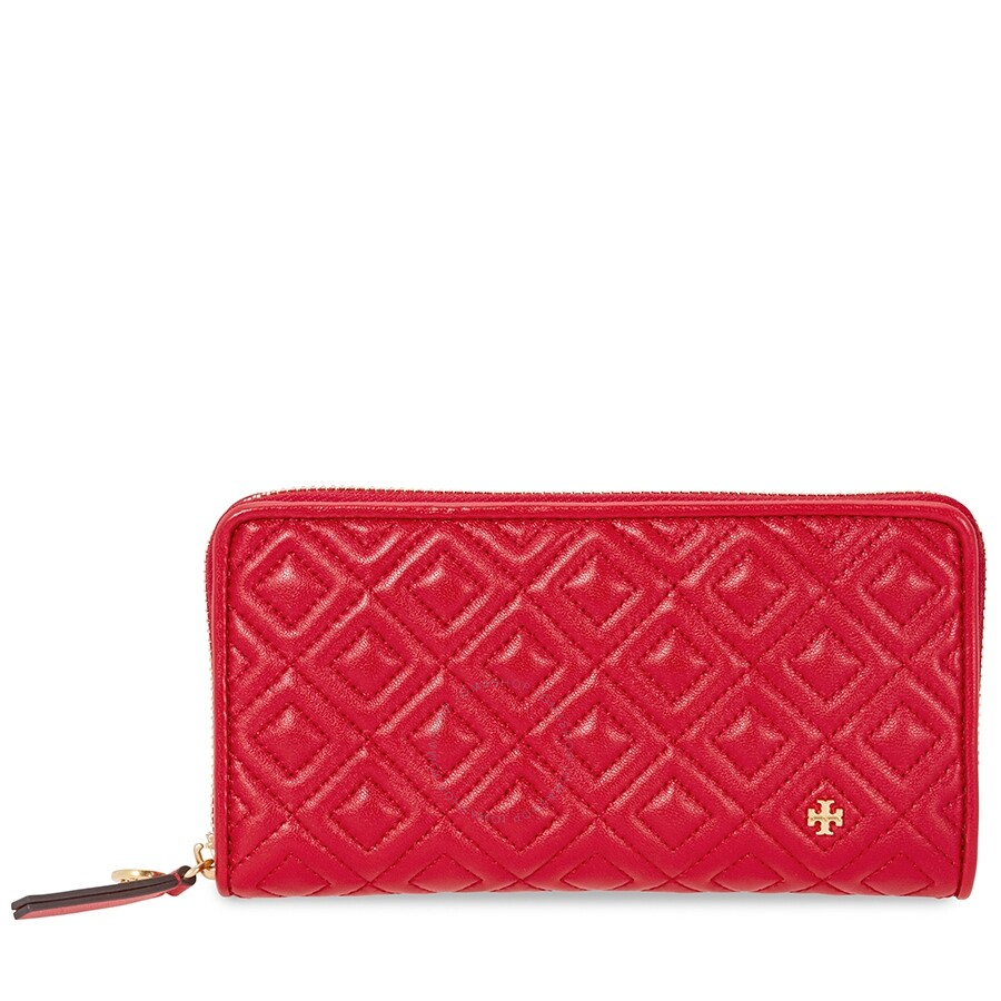 ebbcc4b9b27 Tory Burch Fleming Quilted Zip Continental Wallet- Red Item No. 46542-612