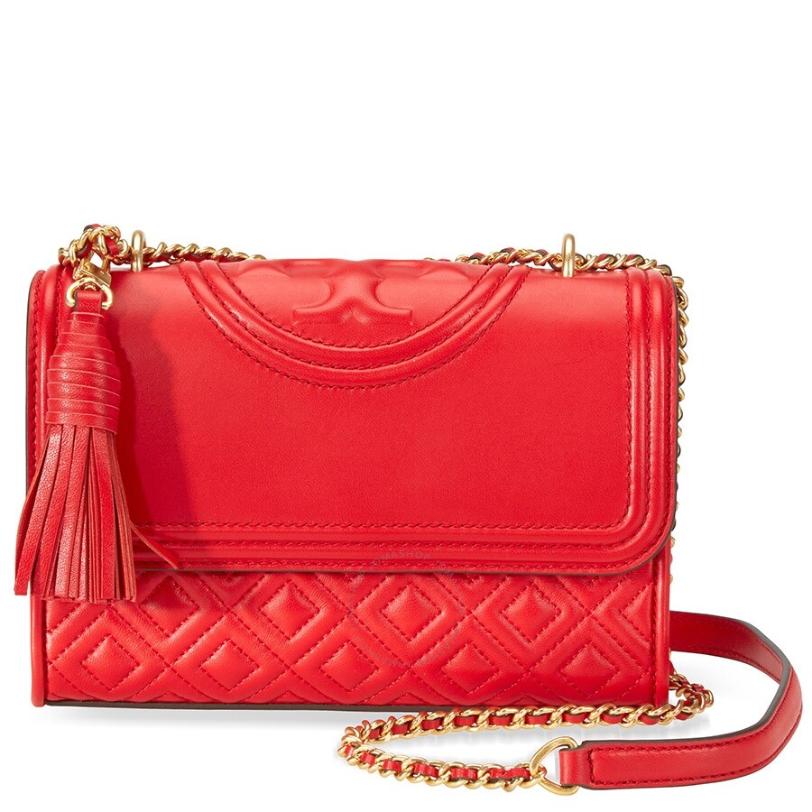 c81d5ef5d21b Tory Burch Fleming Small Convertible Leather Shoulder Bag- Red Item No.  43834-612