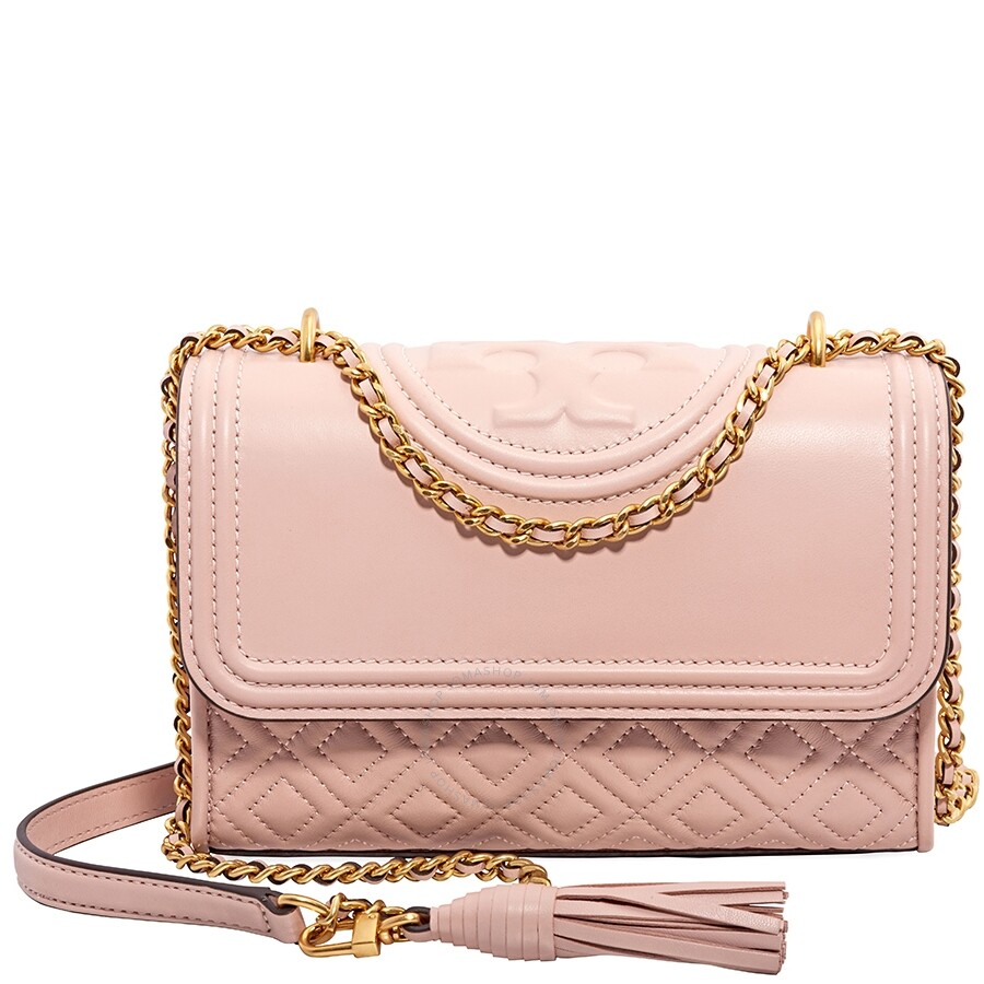 ffe243545cb Tory Burch Fleming Small Convertible Leather Shoulder Bag- Shell Pink Item  No. 43834-652