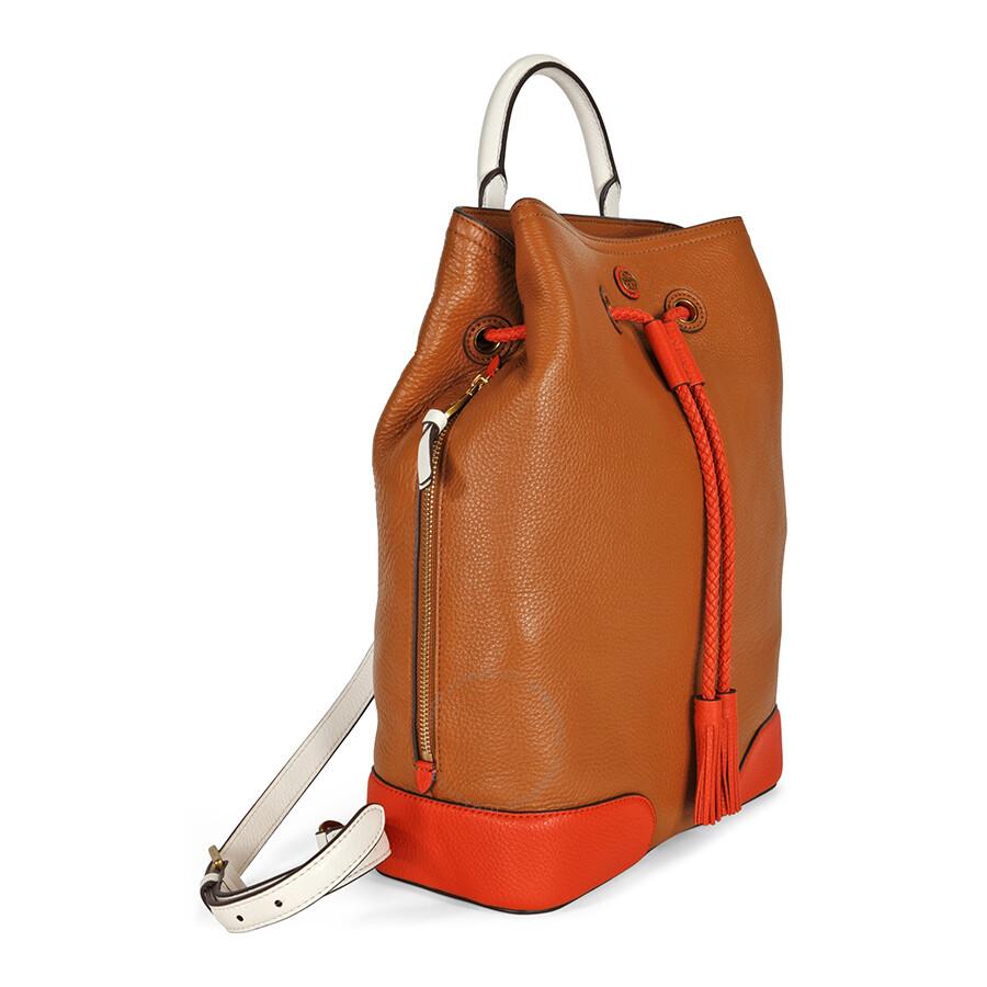 8d720495e96 Tory Burch Frances Color-Block BackPack - Tan Orange Item No. 11159930