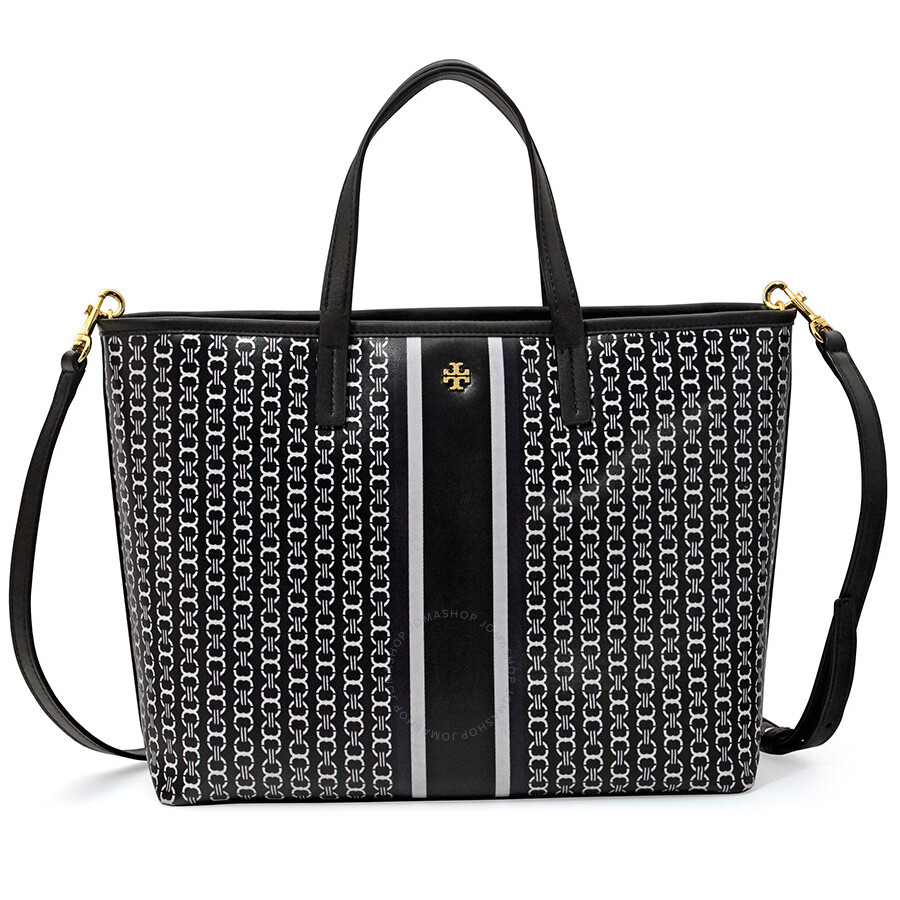 d1f88bee013 Tory Burch Gemini Link Small Tote - Black Gemini Link Stripe Item No.  43896-883
