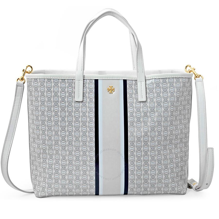 Tory Burch Handbags Jomashop Ronbinson Pebbled Mini Square Gemini Link Small Tote New Ivory Stripe