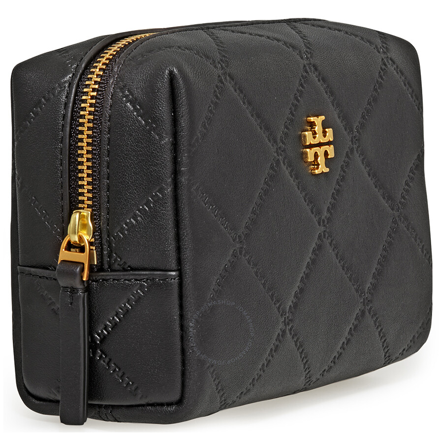 Tory Burch Georgia Small Lattice Sched Makeup Bag Black