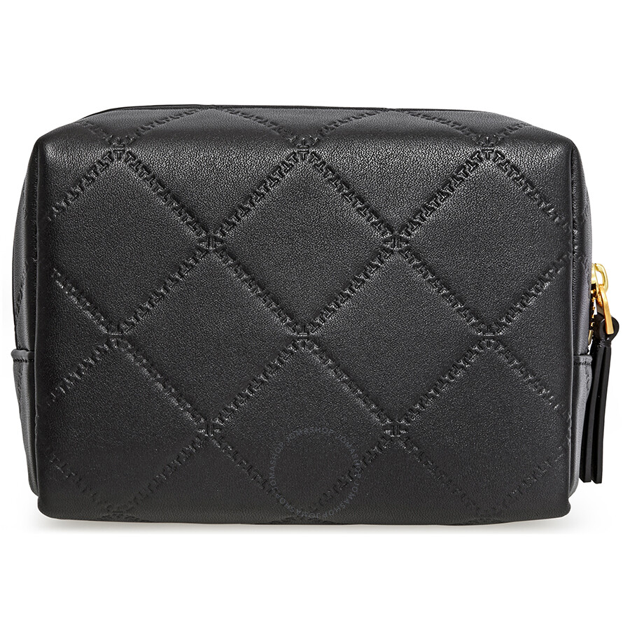 5b1b23f28b93 Tory Burch Georgia Small Lattice Stitched Makeup Bag- Black - Tory ...