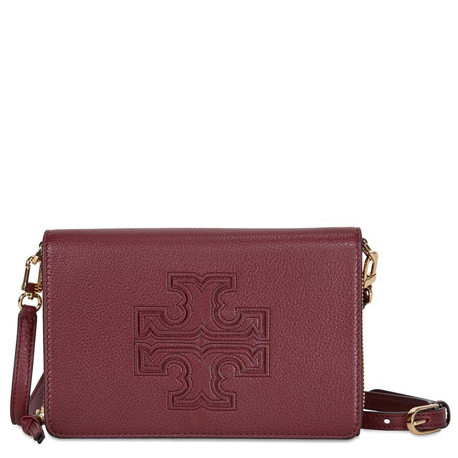 38a164ed934 Tory Burch Harper Flat Wallet Leather Crossbody - Dark Merlot Item No.  33005-513