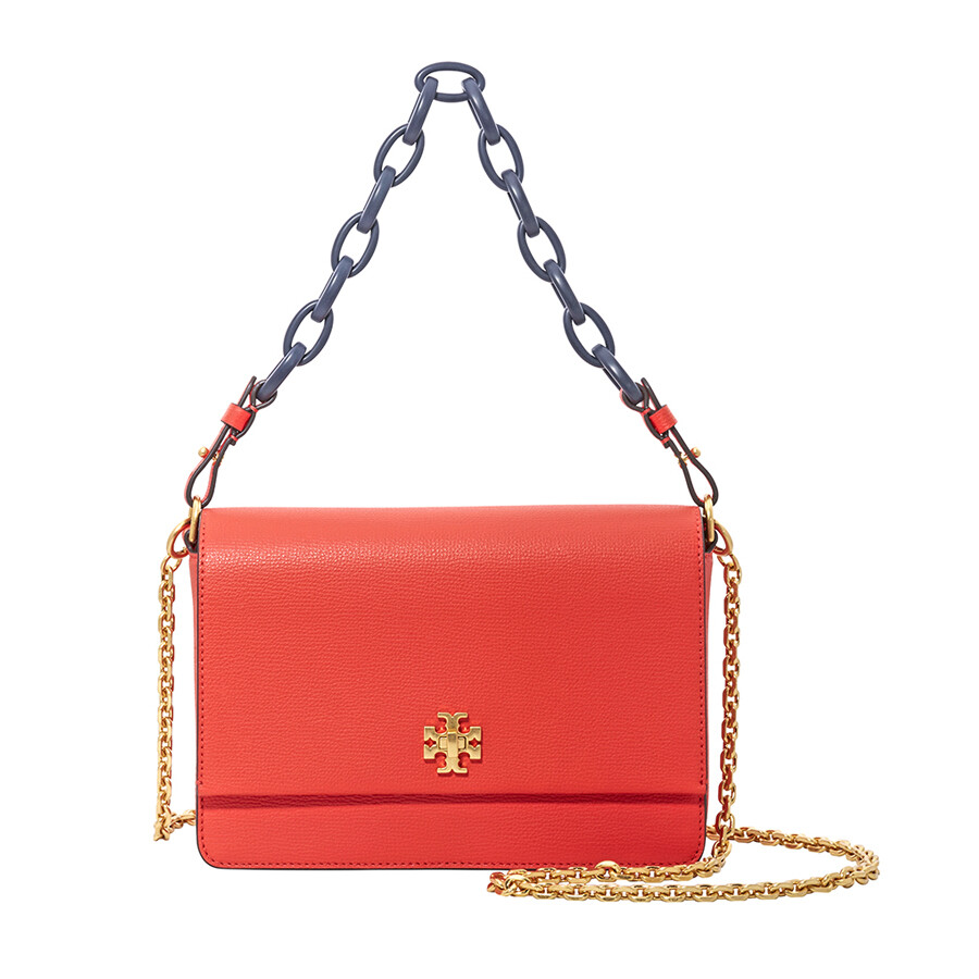ec062446dc9b1 Tory Burch Kira Italian Leather Shoulder Bag- Poppy Red Navy Item No.  45155-614