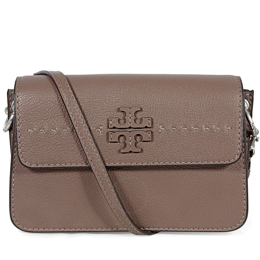 0557b9cebaed Tory Burch McGraw Leather Crossbody - Silver Maple Item No. 40410-963