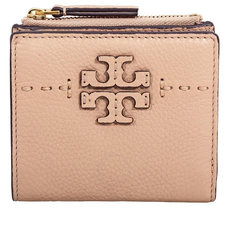 58ce496e0125 Tory Burch McGraw Mini Foldable Wallet- Devon Sand Item No. 45246-288