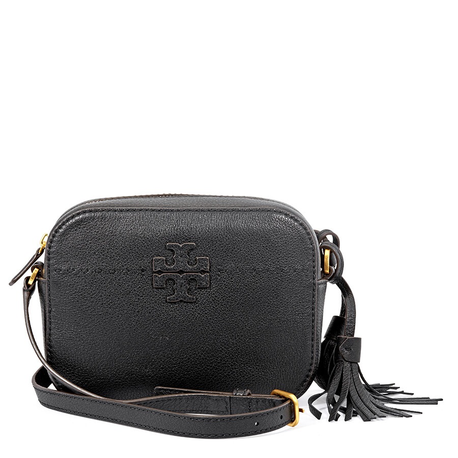 e466ac7b1664 Tory Burch McGraw Pebbled Leather Camera Bag- Black Item No. 45135-001