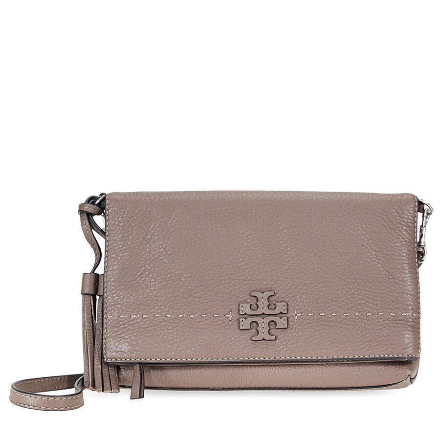 330005c8a95f Tory Burch McGraw Pebbled Leather Foldover Crossbody Bag- Silver Maple Item  No. 44559-963
