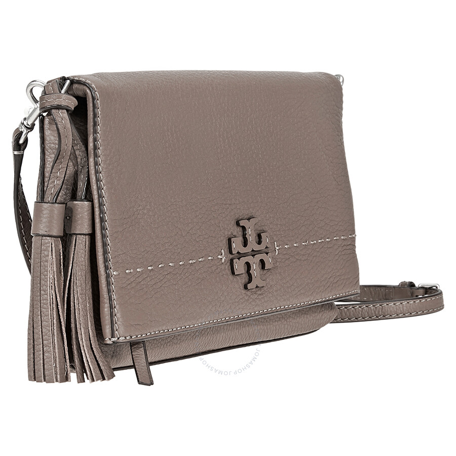 14c4ff6ec57b Tory Burch McGraw Pebbled Leather Foldover Crossbody Bag- Silver Maple