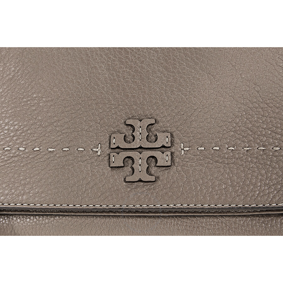 627ead381c8a Tory Burch McGraw Pebbled Leather Foldover Crossbody Bag- Silver Maple