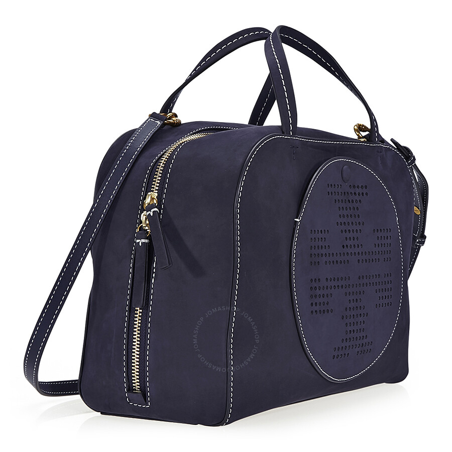 447b3178914 Tory Burch Perforated-Logo Suede Satchel- Tory Navy - Tory Burch ...