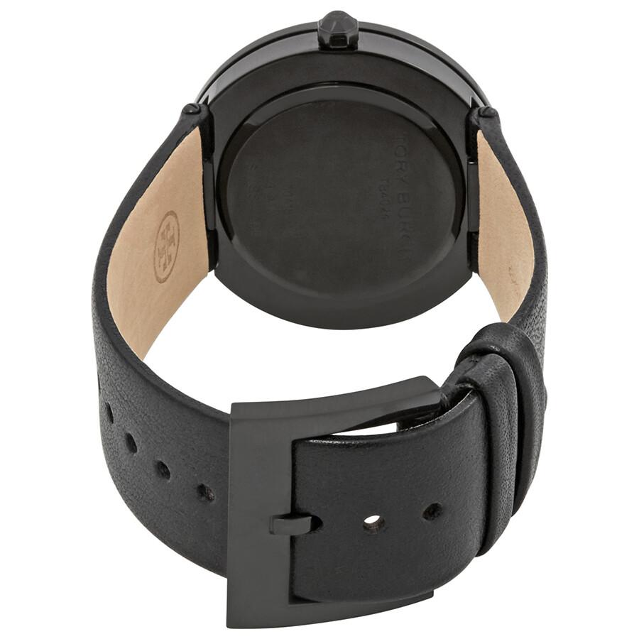 1cf491de7 ... Tory Burch Reva Black Dial Leather Strap 36 MM Ladies Watch TB4024