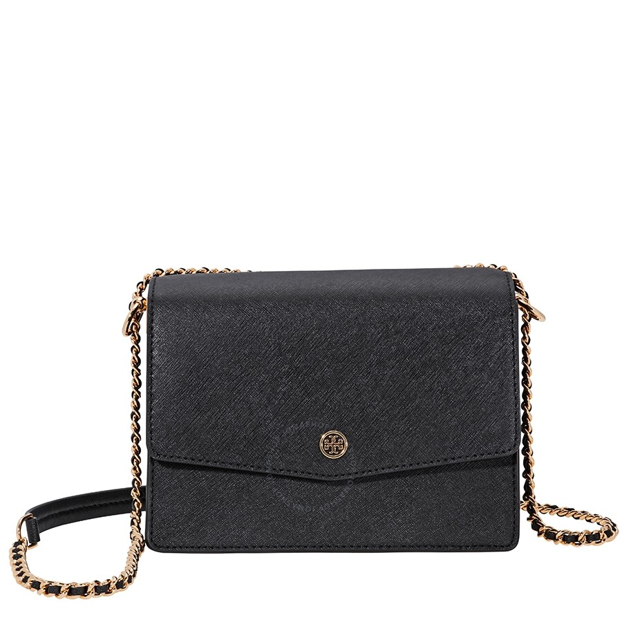 1090140612ee Tory Burch Robinson Convertible Shoulder Bag- Black   Royal Navy Item No.  46333-018
