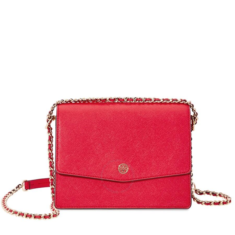8e66b8a8b3f Tory Burch Robinson Convertible Shoulder Bag- Red Item No. 46333-612