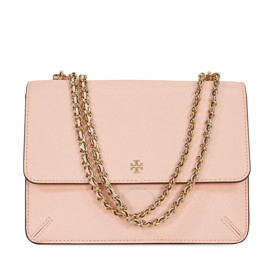 Tory Burch Robinson Convertibleleather Shoulder Bag Pale Apricot Adjustable Chain