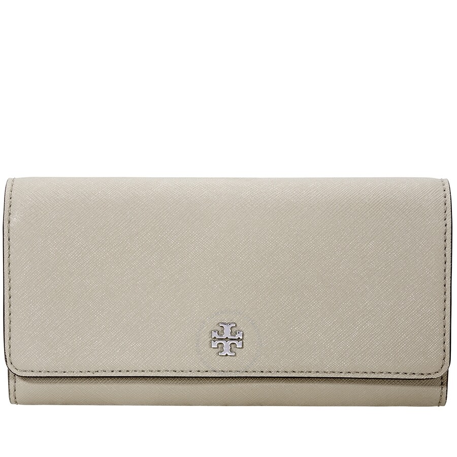 a0779b72bd4e Tory Burch Robinson Envelope Continental Leather Wallet- Grey - Tory ...