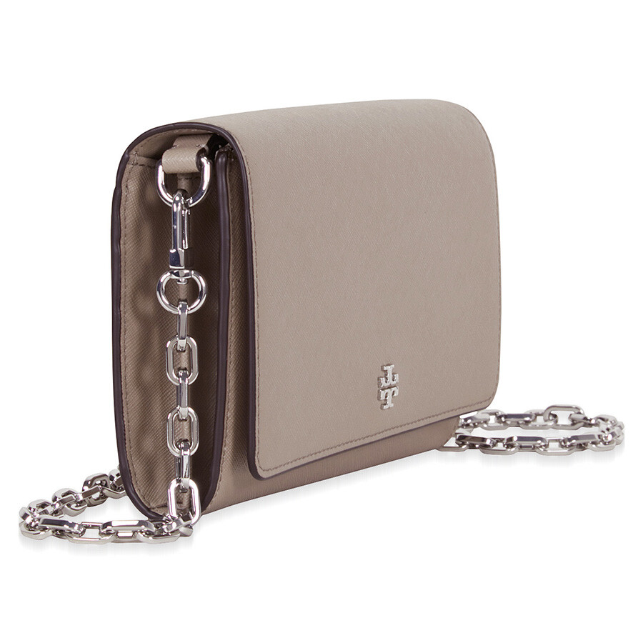 f3a1b9bc25e4 Tory Burch Robinson Leather Chain Wallet - French Gray - Tory Burch ...