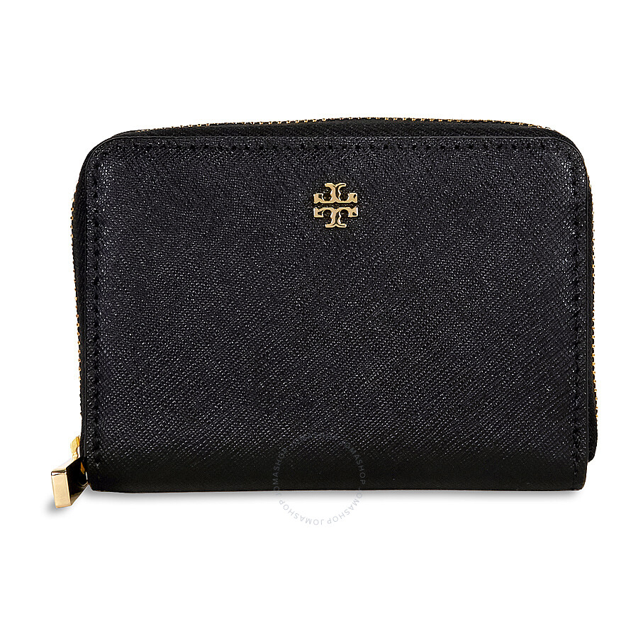 6929dde2374b Tory Burch Robinson Leather Zip Coin Case - Black - Tory Burch ...