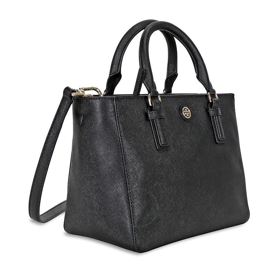 fbf3d9b7e4a Tory Burch Robinson Mini Square Leather Tote Bag - Black - Tory ...