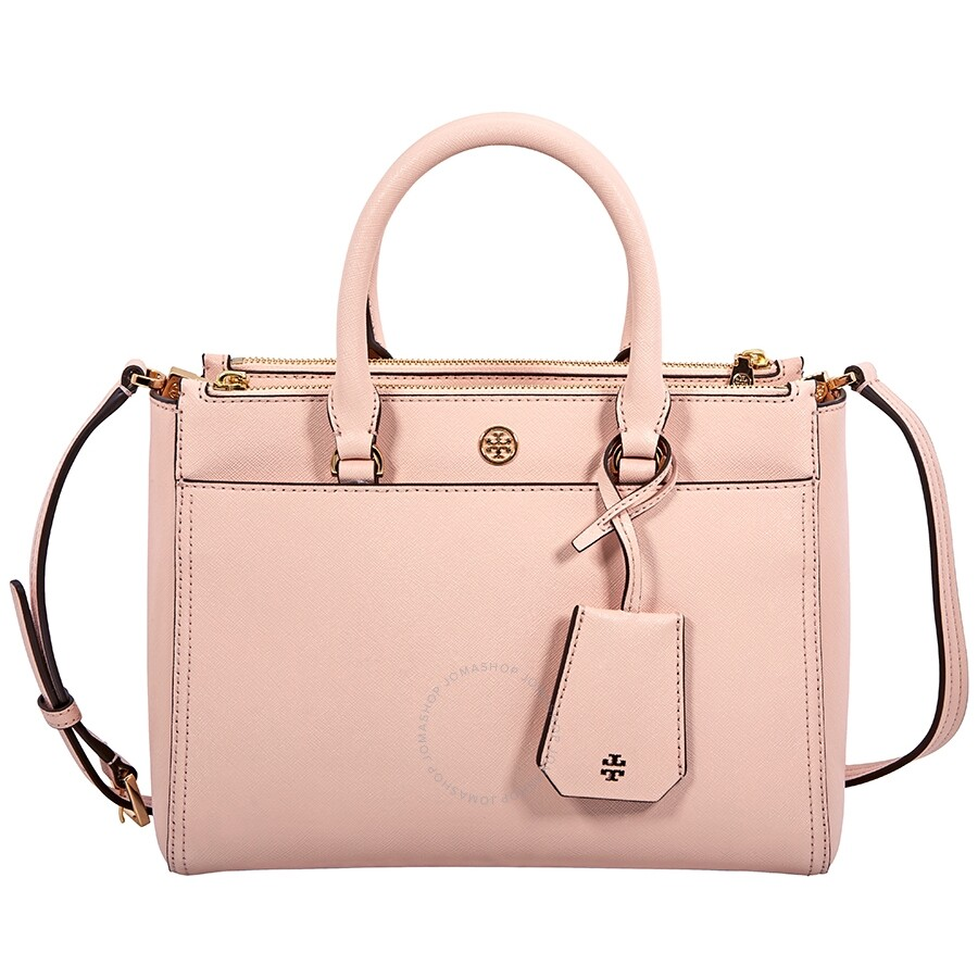 2ba4d495d4f2 Tory Burch Robinson Small Double-ZIp Tote- Pale Apricot   Royal Navy Item  No. 46331-688